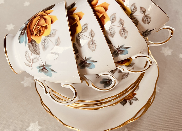 Four Trios Bone China by Royal Vale