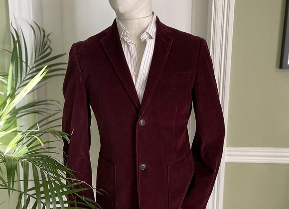 Burgundy Corduroy Jacket with Silk and Tweed