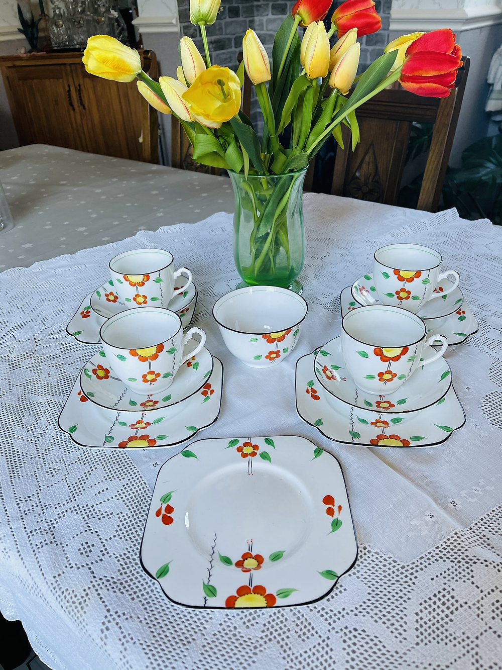 1930s Vintage China and Lace table cloth
