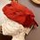 1950s Red Net & Burgundy Velvet Hat Side View