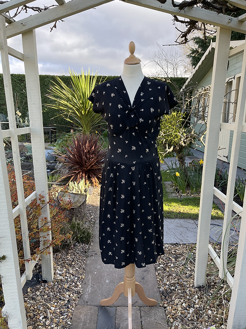 1940s  Black Dress with Cream  Embroidery Front View