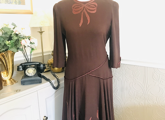 Wool Crepe Dress with Ribbon Appliqué