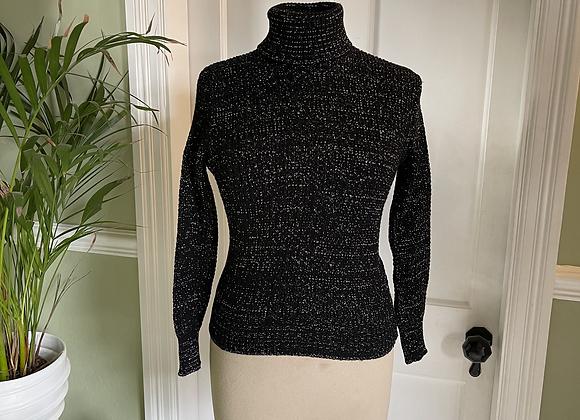 Black & Silver Metallic Knitted 1970s Skinny Rib