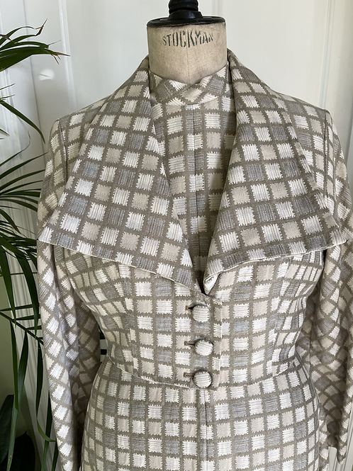 1950s Cream and Taupe Formal Dress and JacketFront View