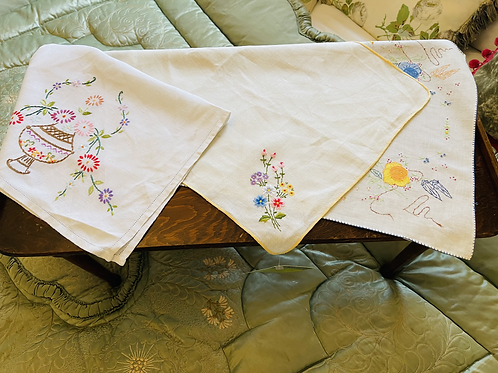 Three Embroidered Vintage Tray Cloths