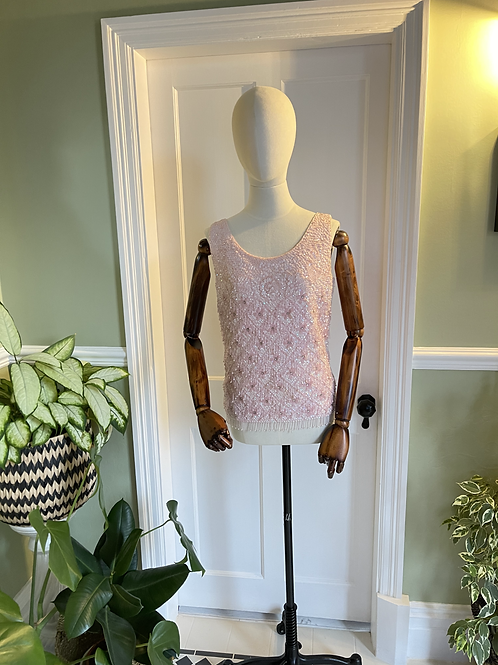 1960s Pink Knitted Beaded Top
