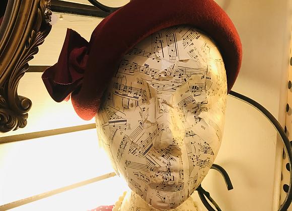 Burgundy Red Wool Moulded Felt Hat