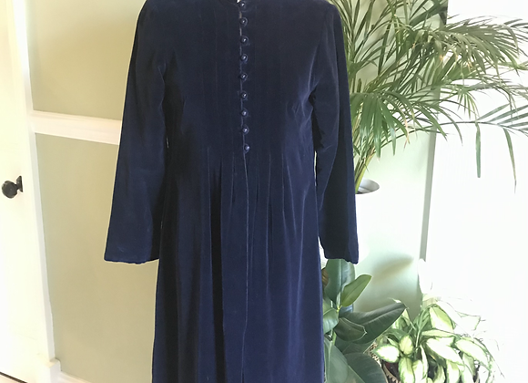 1970s Navy Velvet Maxi Coat With Hood