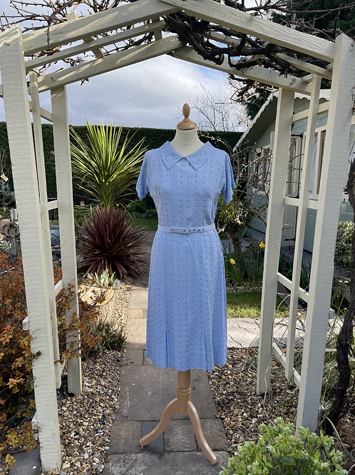 1940s Blue Embroidery Anglaise Dress Front View