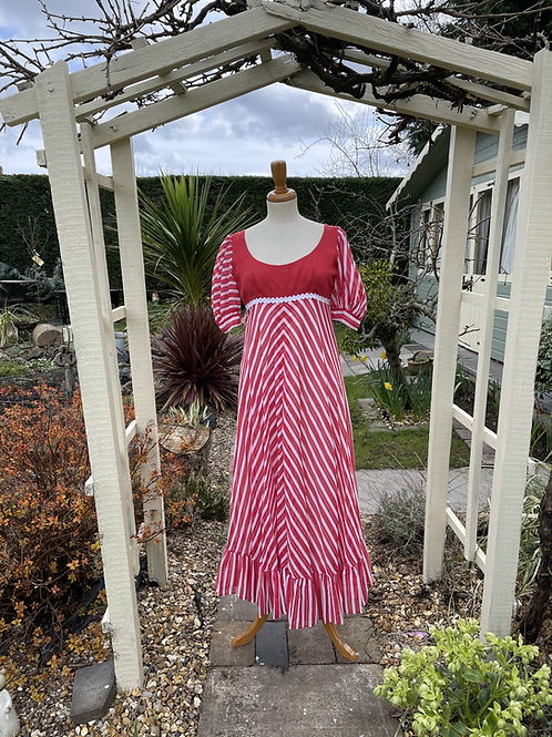 1970s John Charles Candy Striped Midi Dress Front View