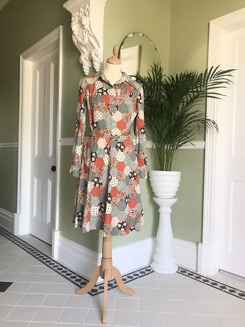 1970s Cream and Tans Faux Patchwork Dress Front View