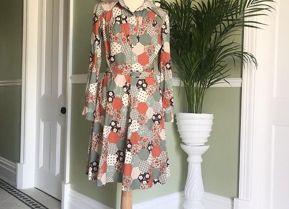 1970s Faux Patchwork Dress