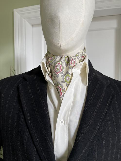Vintage Cravat - Cream Grey Green & Red
