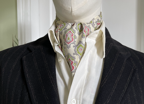 Vintage Cravat - Cream Grey Green & Red
