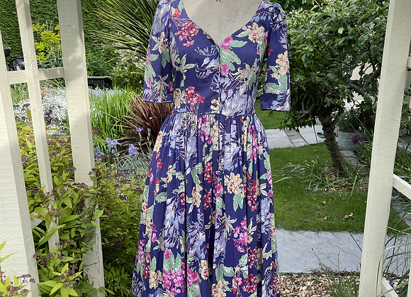 80s Vibrant Floral Laura Ashley Tea Dress