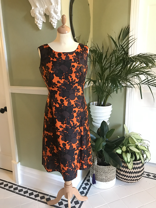 1960s Orange and Brown Silk A Line Dress Front View