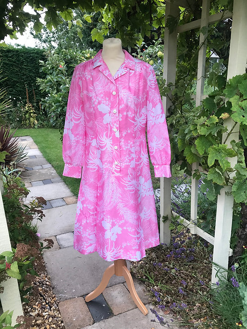 1970s Pink & White Lined Shirt Dress Front View