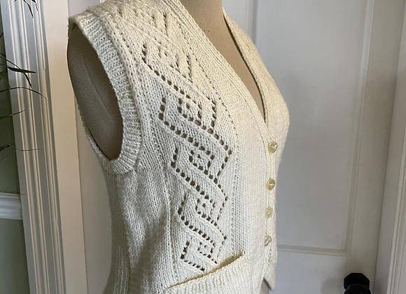 Hand Knitted Cream Waist Coat