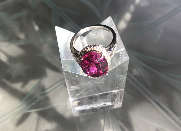 Deep Pink Filagree Set Silver Ring