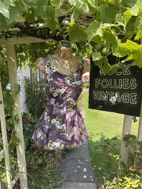 Original 1950s Cotton Purple Brown Green and White Swim Dress