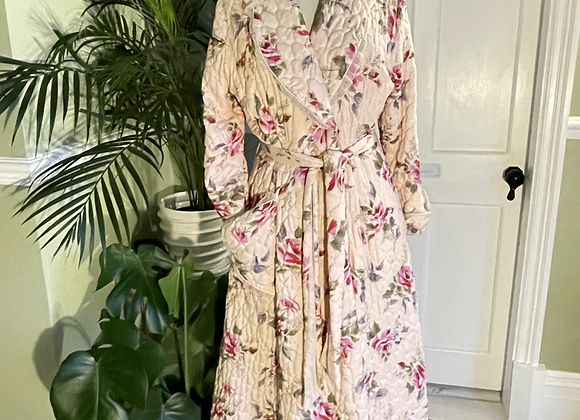 1950s Rose Quilted House Dressing Gown
