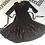 Vintage Brown Wool Crepe Dress with Ribbon Appliqué Flat View
