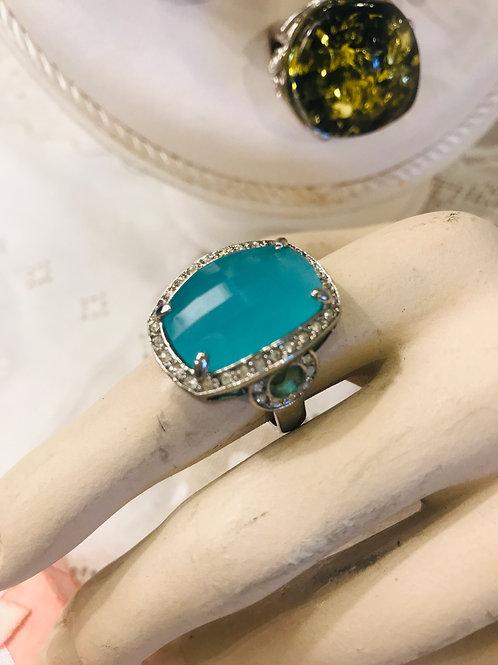 Blue & Diamanté  Ring