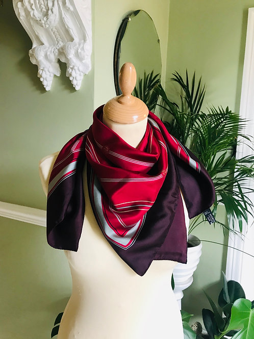 Burgundy Silk Square Scarf By Marco Polo
