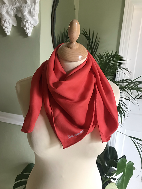 Coral Silk Scarf Square By Jacqmar London