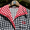 1970s Black, White Red  Gingham Dress Front View Close up