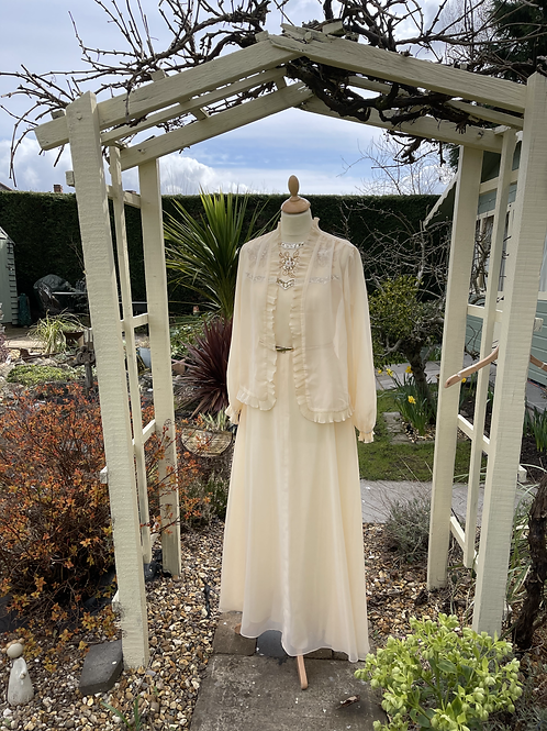 1970s Cream Long Dress & Jacket with Beaded Yoke Front View