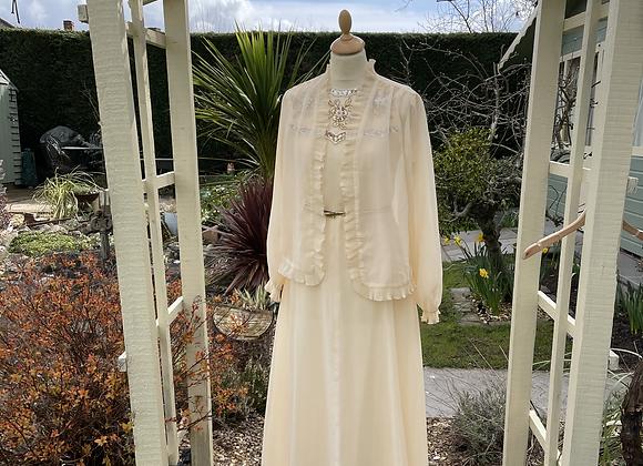 1970s Long Dress & Jacket with beaded yoke