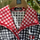 1970s Black, White Red  Gingham Dress Collar View