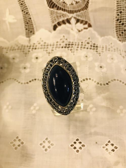 Dark Navy Eye Shaped Ring