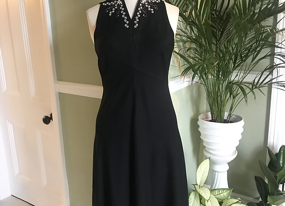 1960s Crepe Midi Dress with Pearls