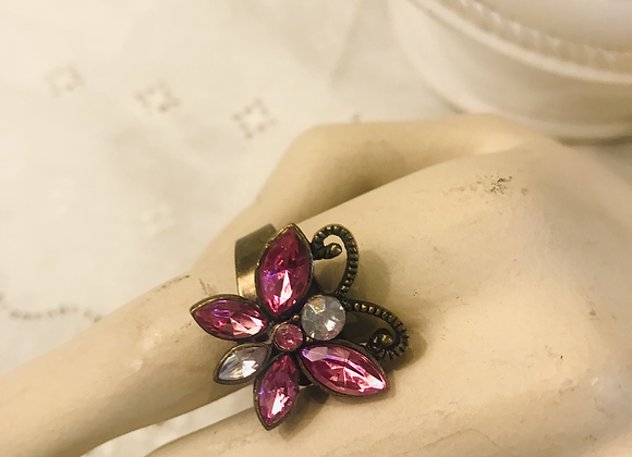 Adjustable Pink Butterfly  Stone Ring