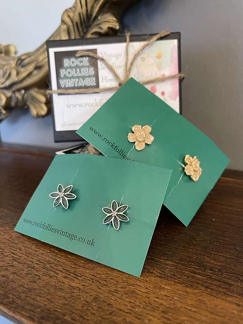 Two Sets of Floral Cuff Links