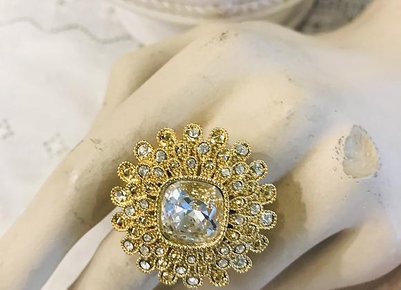 Diamanté Flowerer Ring