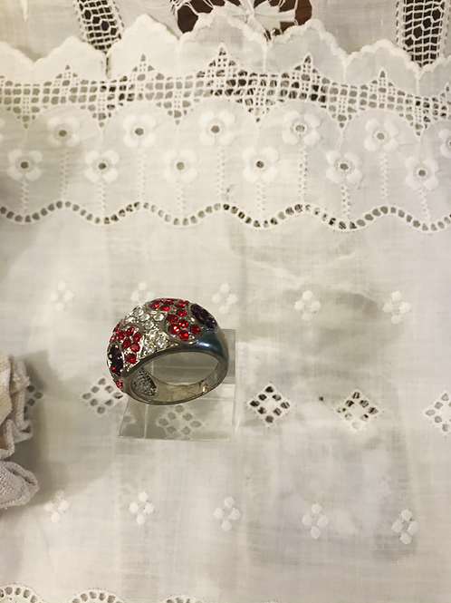 Red and Clear Dome Diamanté  Ring