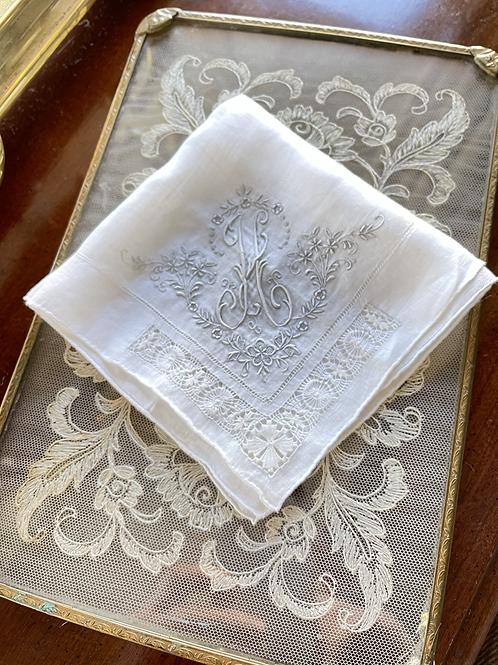 Vintage Lace Handkerchief - H