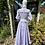 1970s White & Lavender Prairie Maxi Dress Laura Ashley Back View