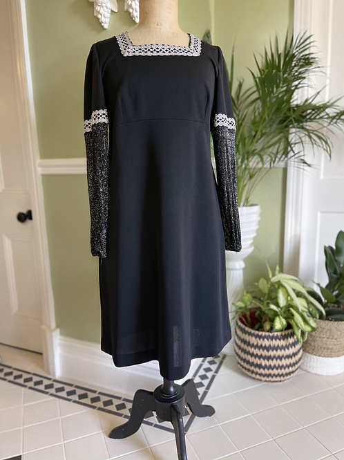 1970s Black Dress with Silver Lurex Sleeves Front View