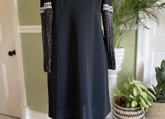 1970s Black Dress with Silver Lurex Sleeves