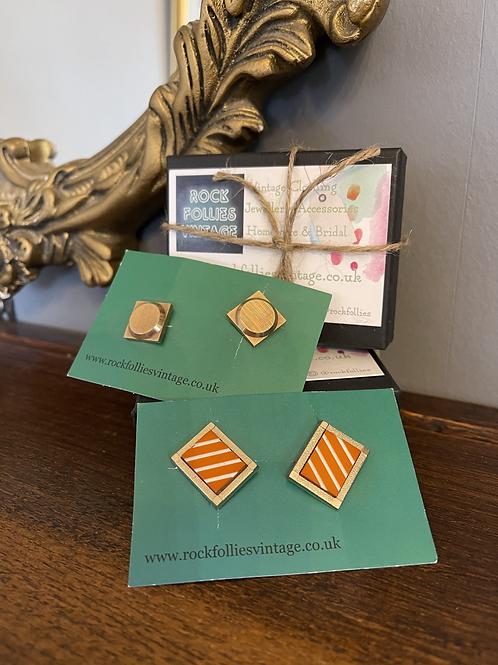 Orange Stones & Gold Square Cuff Links