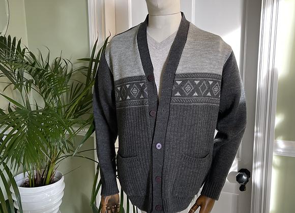 Mens Grey Knit Cardigan