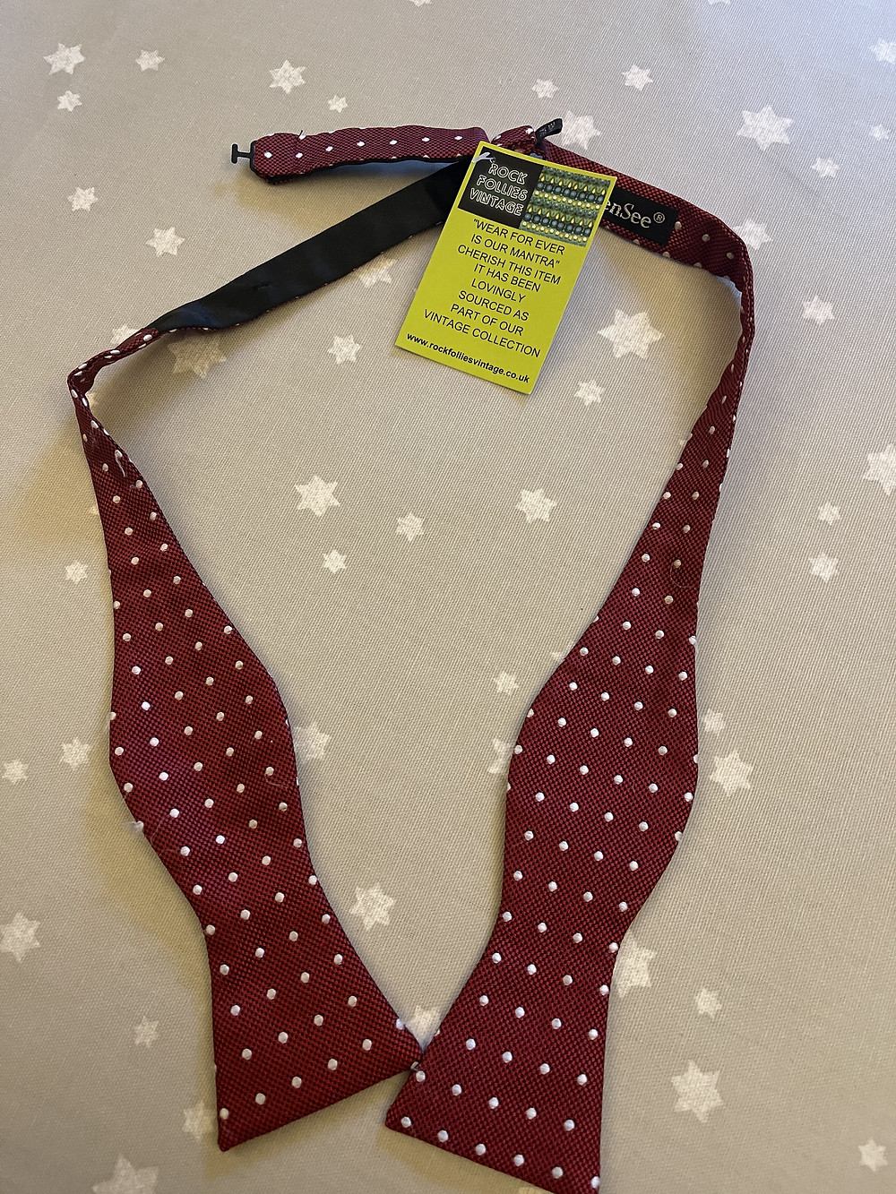 Silk Burgundy and White Spot Self Tie Bow Tie