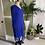 Electric Blue Silk Chiffon Beaded Dress Side  View