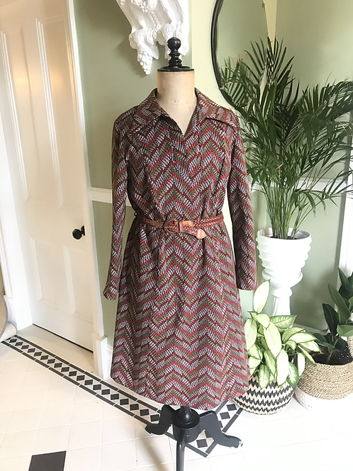 1970s Autumn Coloured Belted  Day Dress Front View