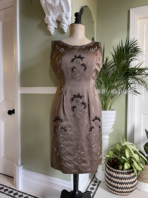 1950s Hand Beaded Satin Wiggle Dress Front View