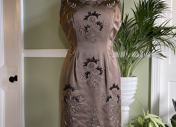 1950s Hand Beaded Dress